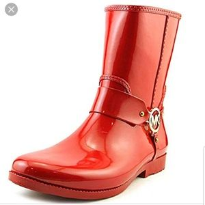Michael Kors Fulton Harness Red Rubber Rain Boots
